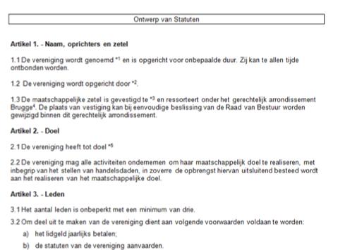 Statuten vertaald door juridische vertalers