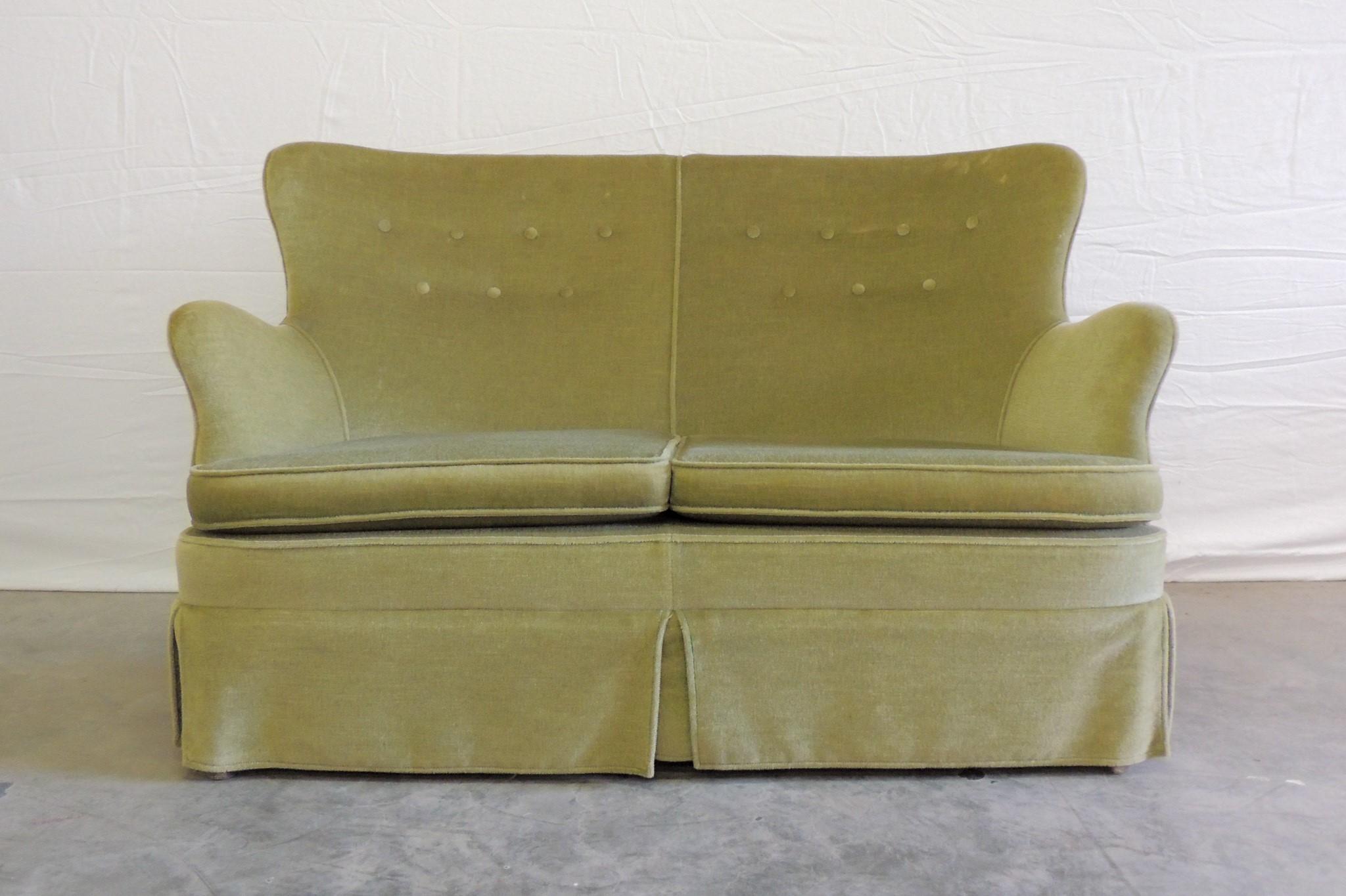 vintage olive green sofa