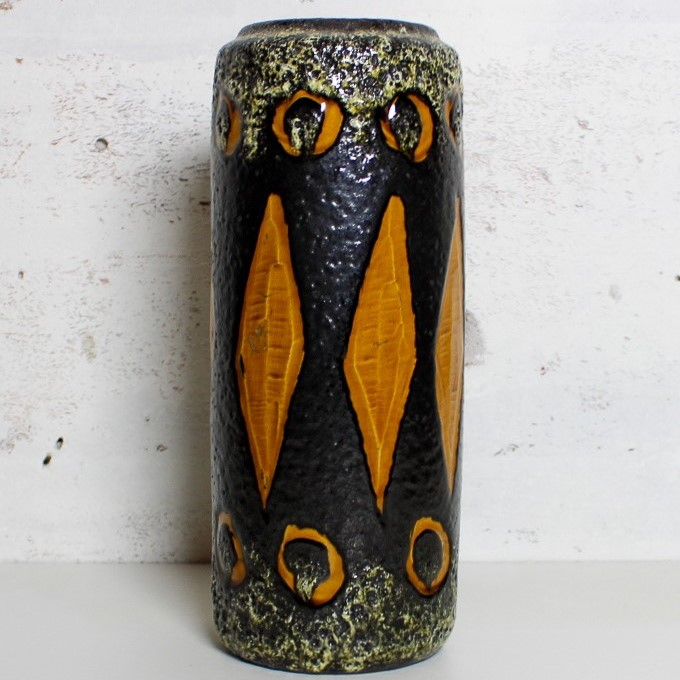 vase w-germany black / ocher