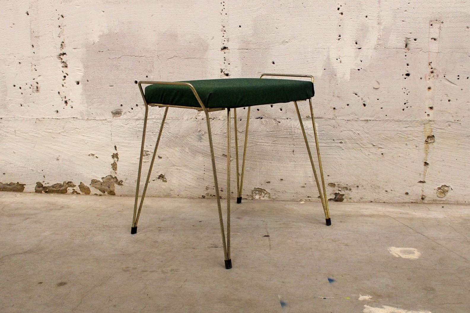 vintage brass footstool