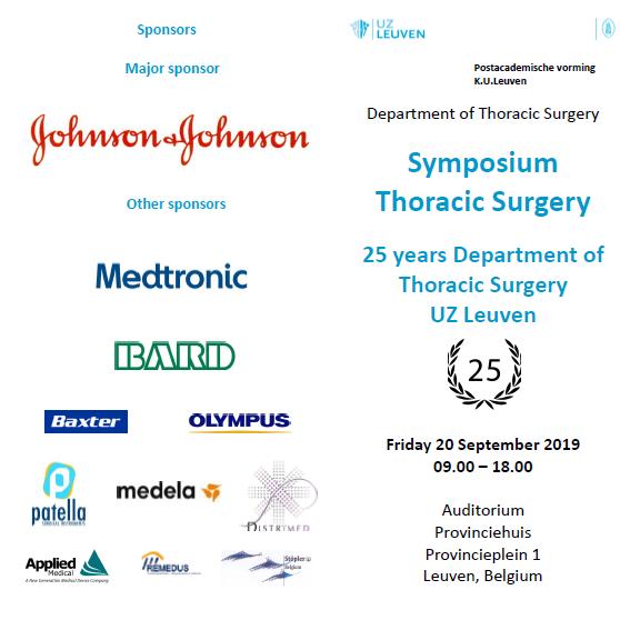20.09.2019: Symposium 25 years Thoracic Surgery UZ Leuven